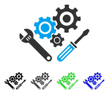Mechanics Tools flat vector illustration. Colored mechanics tools gray, black, blue, green pictogram variants. Flat icon style for web design. Illustration