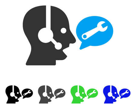 Operator Service Message flat vector pictogram. Colored operator service message gray, black, blue, green icon variants. Flat icon style for application design. Illustration
