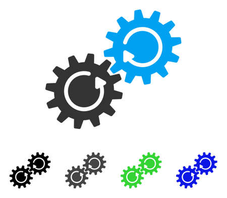 synchronize: Gear Mechanism Rotation flat vector illustration. Colored gear mechanism rotation gray, black, blue, green pictogram versions. Flat icon style for web design. Illustration