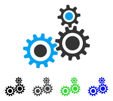 Gear Mechanism flat vector illustration. Colored gear mechanism gray, black, blue, green icon variants. Flat icon style for graphic design.