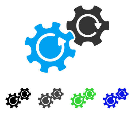 Gears Rotation flat vector illustration. Colored gears rotation gray, black, blue, green pictogram versions. Flat icon style for graphic design. Illustration