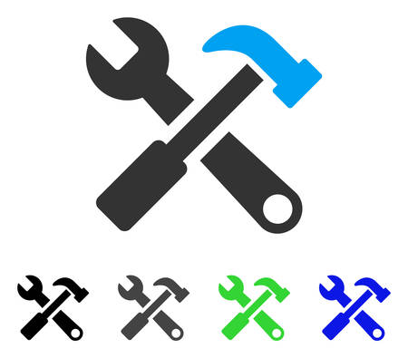 Hammer And Wrench flat vector illustration. Colored hammer and wrench gray, black, blue, green icon variants. Flat icon style for application design.