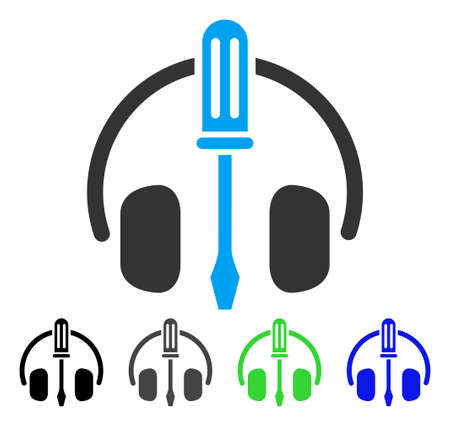 Headphones Tuning Screwdriver flat vector icon. Colored headphones tuning screwdriver gray, black, blue, green pictogram variants. Flat icon style for application design.