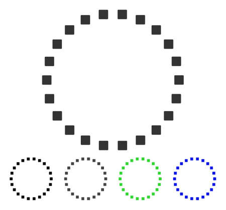 Dotted Circle flat vector illustration. Colored dotted circle gray, black, blue, green icon versions. Flat icon style for web design.