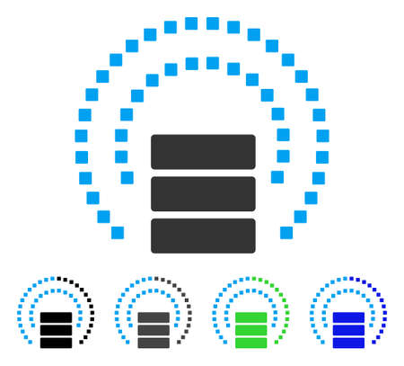 host: Database Sphere Shield flat vector illustration. Colored database sphere shield gray, black, blue, green icon variants. Flat icon style for graphic design.