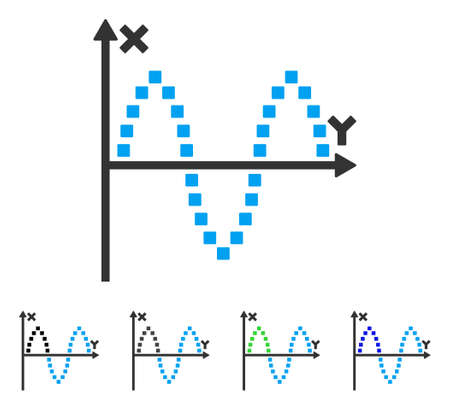 alternating current: Sinusoid Plot flat vector icon. Colored sinusoid plot gray, black, blue, green pictogram versions. Flat icon style for application design.