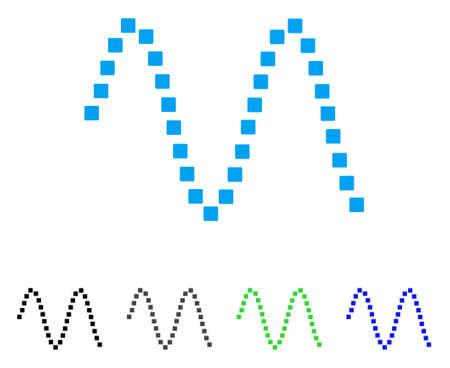 Sinusoïde platte vector pictogram. Gekleurde sinusvormige grijze, zwarte, blauwe, groene pictogramvarianten. Platte pictogramstijl voor webdesign. Stock Illustratie