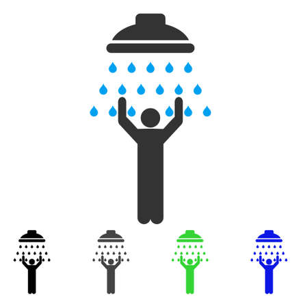 Man Under Shower flat vector pictogram. Colored man under shower gray, black, blue, green icon versions. Flat icon style for graphic design.