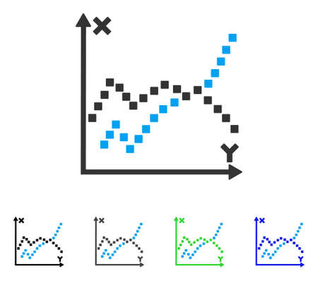 plot: Functions Plot flat vector icon. Colored functions plot gray, black, blue, green pictogram variants. Flat icon style for graphic design.