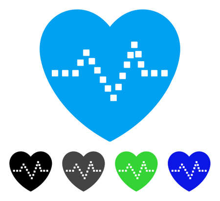 Heart Pulse flat vector illustration. Colored heart pulse gray, black, blue, green icon variants. Flat icon style for application design.