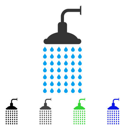 Shower flat vector icon. Colored shower gray, black, blue, green pictogram versions. Flat icon style for application design. Illustration
