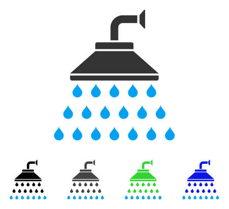 Shower flat vector icon. Colored shower gray, black, blue, green icon variants. Flat icon style for web design.