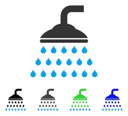 Shower flat vector pictogram. Colored shower gray, black, blue, green pictogram versions. Flat icon style for application design.