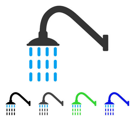 antiseptic: Shower flat vector pictogram. Colored shower gray, black, blue, green pictogram variants. Flat icon style for web design.