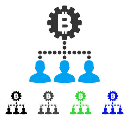 Bitcoin Service Staff flat vector pictogram. Colored bitcoin service staff gray, black, blue, green icon versions. Flat icon style for graphic design.