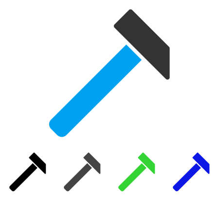 Hammer flat vector pictogram. Colored hammer gray, black, blue, green icon variants. Flat icon style for graphic design.