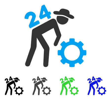 Nonstop Working Person flat vector illustration. Colored nonstop working person gray, black, blue, green pictogram versions. Flat icon style for web design.