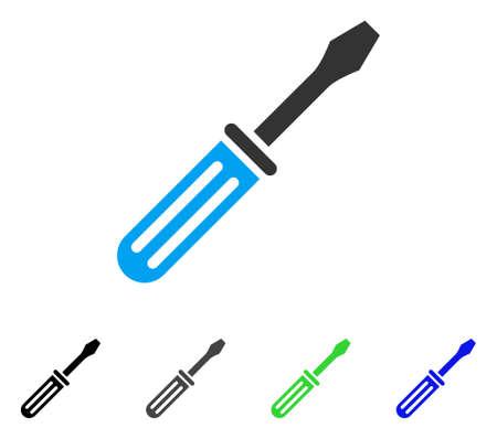 Pittogramma di vettore piatto cacciavite. Cacciavite colorato in grigio, nero, blu, verde. Stile icona piatta per la progettazione dell'applicazione.
