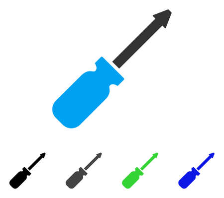 Screwdriver flat vector icon. Colored screwdriver gray, black, blue, green icon variants. Flat icon style for web design. Illustration