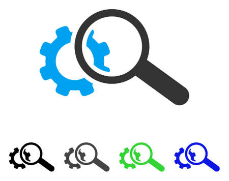 Seo Tools flat vector illustration. Colored seo tools gray, black, blue, green icon variants. Flat icon style for web design. Illustration