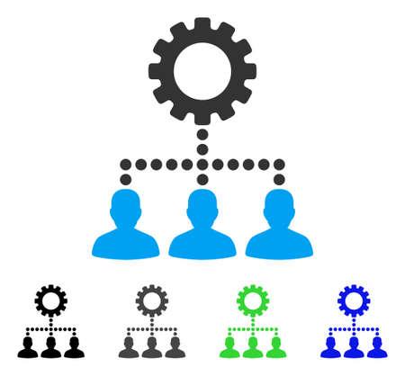 setup: Service Staff flat vector illustration. Colored service staff gray, black, blue, green pictogram variants. Flat icon style for web design. Illustration
