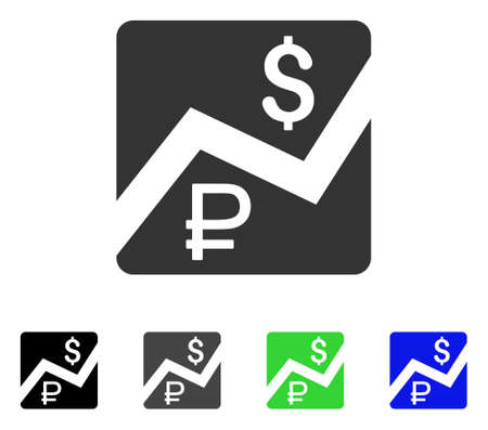 Rouble And Dollar Finances flat vector icon. Colored rouble and dollar finances gray, black, blue, green pictogram versions. Flat icon style for application design.