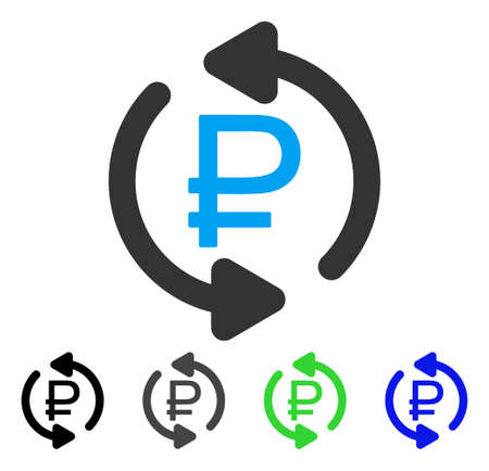 Refresh Rouble Balance flat vector pictograph. Colored refresh rouble balance gray, black, blue, green icon versions. Flat icon style for graphic design. Иллюстрация