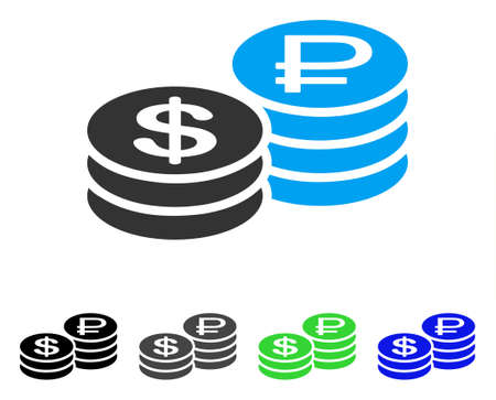 Rouble And Dollar Coins flat vector pictogram. Colored rouble and dollar coins gray, black, blue, green icon variants. Flat icon style for web design. Иллюстрация