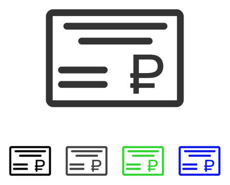 Rublo Compruebe el pictograma del vector plano. Ver colores rublo gris, negro, azul, verde, versiones icono. Estilo de icono plano para diseño gráfico. Foto de archivo - 83012284