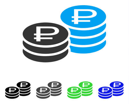 Rouble Coin Stacks flat vector pictogram. Colored rouble coin stacks gray, black, blue, green icon variants. Flat icon style for graphic design.