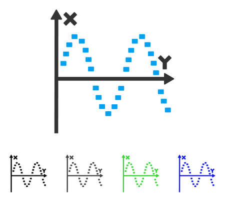 plot: Dotted Sine Plot flat vector icon. Colored dotted sine plot gray, black, blue, green icon versions. Flat icon style for graphic design.