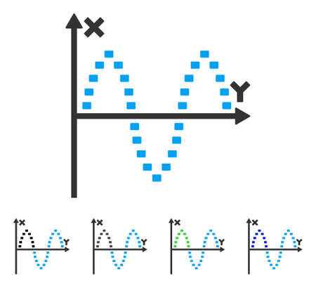 Dotted Sinusoid Plot flat vector pictograph. Colored dotted sinusoid plot gray, black, blue, green icon versions. Flat icon style for application design.