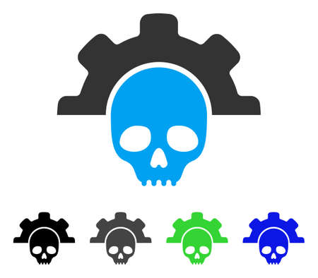 setup: Dead Tools flat vector pictograph. Colored dead tools gray, black, blue, green pictogram versions. Flat icon style for application design. Illustration