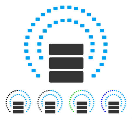 db: Database Sphere Shield flat vector icon. Colored database sphere shield gray, black, blue, green pictogram variants. Flat icon style for application design.