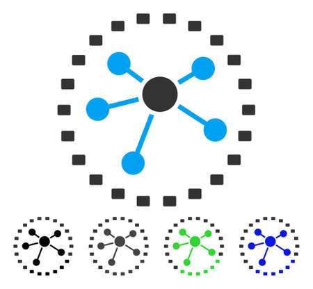 Dotted Links Diagram flat vector icon. Colored dotted links diagram gray, black, blue, green icon variants. Flat icon style for application design.