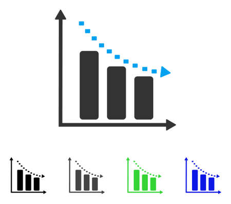 plot: Dotted Negative Trend flat vector pictogram. Colored dotted negative trend gray, black, blue, green icon versions. Flat icon style for application design. Illustration