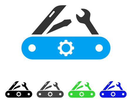 Swiss Knife flat vector pictogram. Colored swiss knife gray, black, blue, green icon versions. Flat icon style for graphic design.