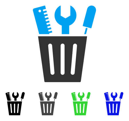Tools Bucket flat vector pictograph. Colored tools bucket gray, black, blue, green icon versions. Flat icon style for application design.