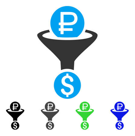 rub: Rouble Currency Conversion flat vector illustration. Colored rouble currency conversion gray, black, blue, green pictogram versions. Flat icon style for application design.