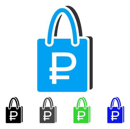 Roebel winkelen platte vector pictogram. Gekleurde roebel winkelende grijze, zwarte, blauwe, groene pictogramversies. Platte pictogramstijl voor webdesign.