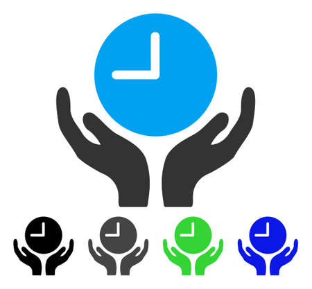tracking: Clock Care flat vector illustration. Colored clock care gray, black, blue, green icon versions. Flat icon style for graphic design.