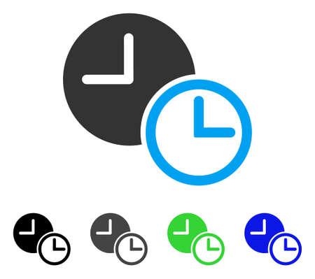 dashboard: Clocks flat vector illustration. Colored clocks gray, black, blue, green pictogram variants. Flat icon style for application design. Illustration