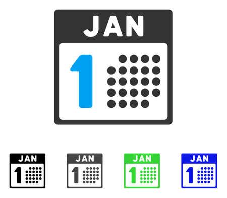 1 월 첫 번째 플랫 벡터 픽토그램입니다. 색깔 된 1 월, 회색, 검정, 파랑, 녹색 아이콘 버전. 응용 프로그램 디자인을위한 평면 아이콘 스타일.