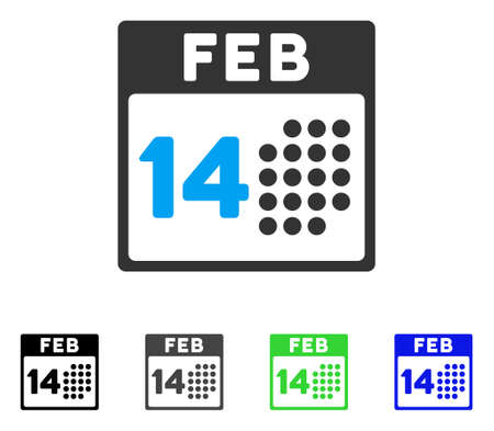 14th: Romantic Valentine Day flat vector pictograph. Colored romantic valentine day gray, black, blue, green pictogram variants. Flat icon style for web design.