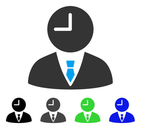 Time Manager flat vector pictogram. Colored time manager gray, black, blue, green icon versions. Flat icon style for web design. Illustration