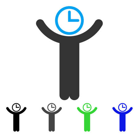 Time Manager flat vector pictogram. Colored time manager gray, black, blue, green icon variants. Flat icon style for web design.