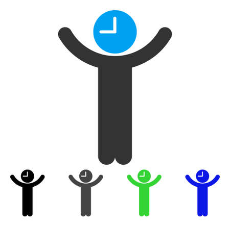 Time Boss flat vector icon. Colored time boss gray, black, blue, green pictogram variants. Flat icon style for web design. Illustration