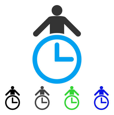 Time Manager flat vector pictograph. Colored time manager gray, black, blue, green icon versions. Flat icon style for web design.