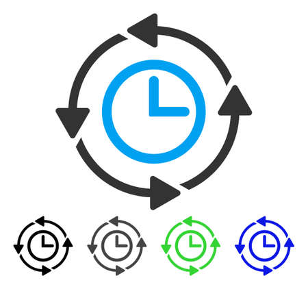 Wayback Clock flat vector icon. Colored wayback clock gray, black, blue, green icon variants. Flat icon style for graphic design. Illustration
