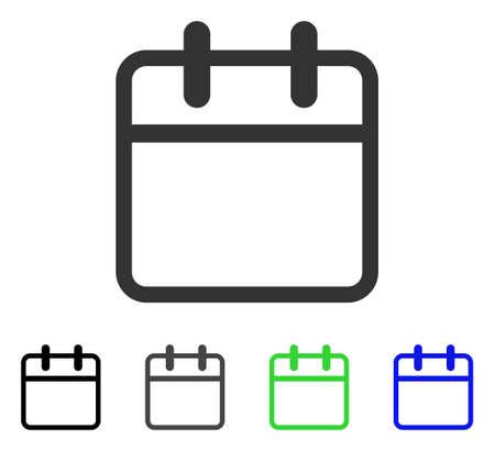 Calendar Leaf flat vector illustration. Colored calendar leaf gray, black, blue, green icon variants. Flat icon style for graphic design.